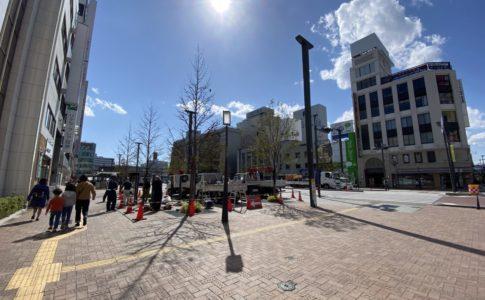 姫路駅前の喫煙所が撤去されている